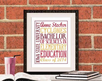 Professional Print - Personalized Typography college graduation gift - 8x10 graduation, customized stat print