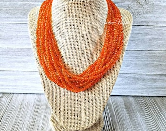 multi strand necklace, orange necklace, orange beaded necklace, orange bead necklace, orange and silver necklace, solid orange necklace