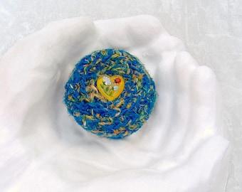 Silk Basket w/ Heart - Unique Handmade Silk Basket w/ Garden Theme Embellished Lid - Valentine's Day, Mother's Day, Wedding Anniversary Gift