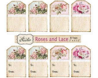Pink roses Gift Tags, Printable Gift Tags, Instant Download, Digital, printable craft supplies, custom order, To From tags, valentines tags,