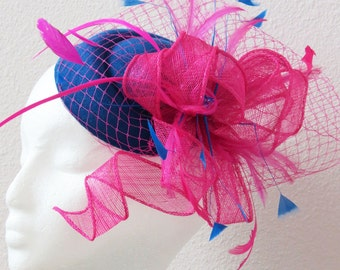Hot Pink Fascinator Derby fascinator hat Royal blue hot pink veil fascinator
