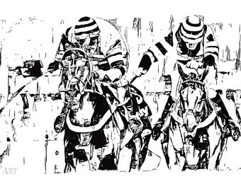 Horse Racing Ink Drawing