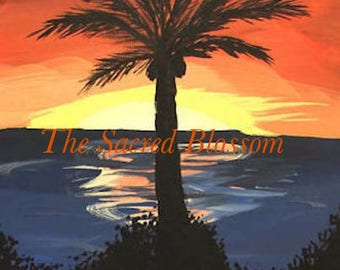 Palm tree sunrise Digital Download, Print, Painting sunset coconuts, bushes, ocean, paradise