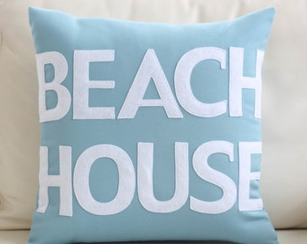 "Outdoor Pillow, Decorative Pillow, ""Beach House"" 16 inch pillow"