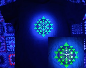 Sri Yantra hand painted t-shirt fluorescent psychedelic sacred geometry Aum
