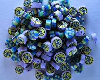 100 Polyclay Butterfly and Flower Beads - Destash Sale