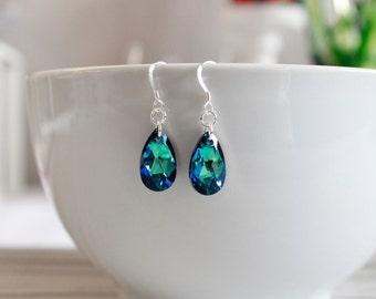 Bermuda Blue Teardrop Swarovski Crystal and Sterling Silver Fishhook Earrings; Swarovski Crystal Jewelry; Blue, Aqua, Green