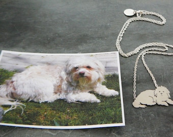 Dog Pendant Necklace .. Custom Pet Portrait Sterling Silver Maltese silhouette Memorial Jewelry Mothers Day Keepsake