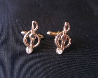 Swank Cufflinks, Treble Clef Note, Music Cufflinks, Swank Musical Cuff Links note vintage musician treble clef, maestro conductor gift