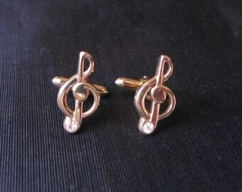 Treble Clef Note, Music Cufflinks, Swank Musical Cuff Links note vintage Swank musician treble clef, maestro conductor gift