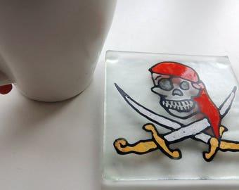 Fused glass coaster,painted fused coaster,fused pirate coaster,painted pirate coaster