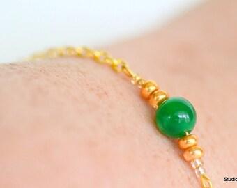 Green Jade Bead Bracelet, Gold Layering Bracelets, Customizable Bracelets, Simple Gold Bracelet, Simple Jade Bracelet, Yoga Bracelet,