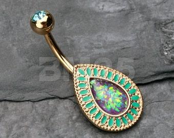 Golden Chakra Opal Belly Button Ring
