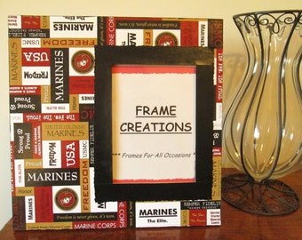 5x7 Marine Themed - Hand Decorated Picture Frame