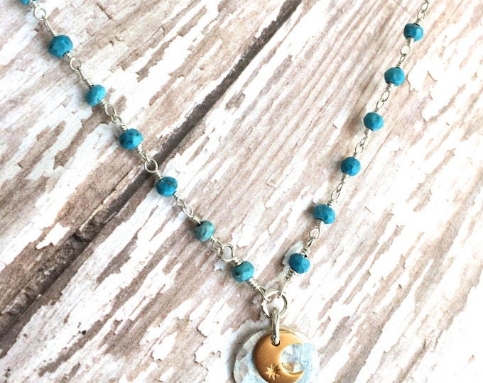 Turquoise Sun and Moon Necklace