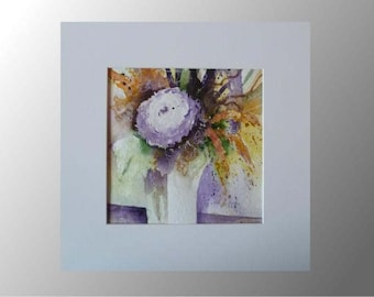 watercolour painting abstract flowers