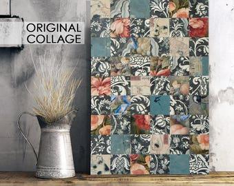 Paper Collage, paper mosaic, unique home decor, floral art, blue and rose, office decor, 12x18 art, soft colors, ooak art, decoupage art