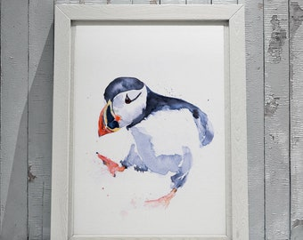 Sprout the Puffin - Signed Print of my original watercolour painting of a Puffin