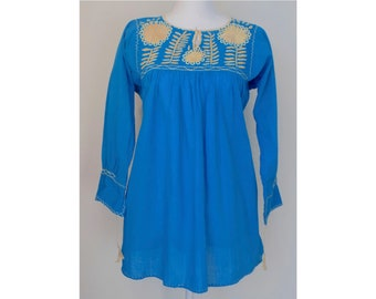 Blue Mexican Blouse - Embroidered Mexican Blouse - Mexican Top - Mexican Tunic Top - 3/4 Length Sleeve - Women's Medium - Women's Small