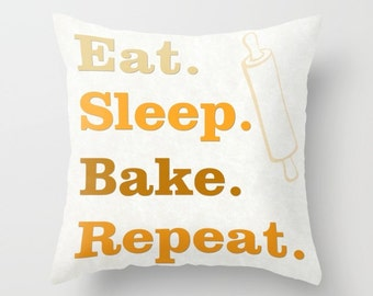 Eat Sleep Bake Repeat pillow, cushion, typography, gift for baker, home decor, green, blue, orange, baking, kitchen, pillow cover, unique