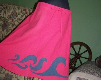 Coral waves hemp and organic cotton skirt