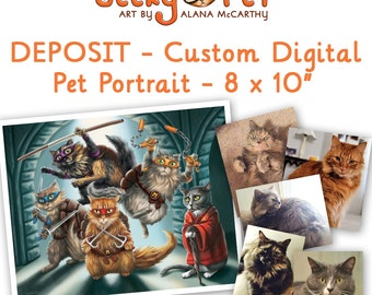 "50% DEPOSIT - Custom digitally painted cat or dog portrait as a character 8 x 10"" giclee print included"