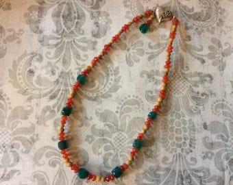 Gemstone necklace, yellow marble, green onyx, red carnelion, womens necklace, womens jewelry, stone necklace, stone jewelry, handmade