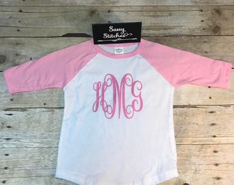 Girls monogrammed shirt, baseball sleeve tee, large monogram tee, toddler monogram shirt, toddler baseball tee, personalized girls shirt