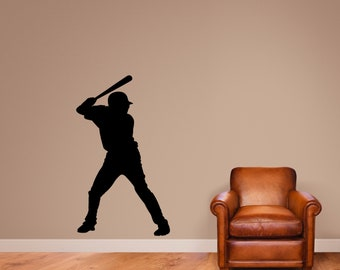 Baseball Batter Silhouette Wall Decal - Kids Room Sports Man Cave Wall Decals