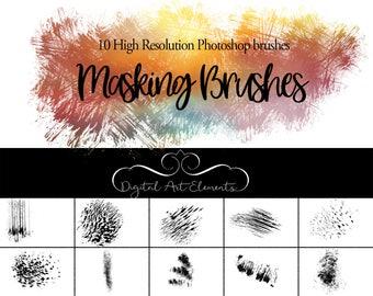 Photoshop Brushes - 10 Photoshop brushes ideal for creating masks - Add Grunge Texture