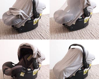 GREY || Car Seat Cover - Stretchy Car Seat Cover - Infant Baby Carrier Cover - Carseat Cover - Car Seat Canopy - NICU Baby Gift