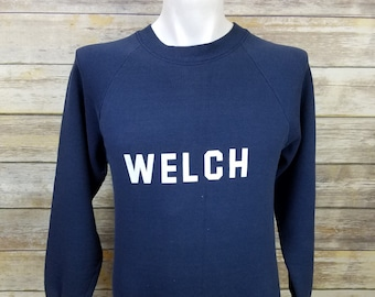 """1980s Fruit of the Loom """"WELCH"""" Vintage  50/50 Blue Sweater 