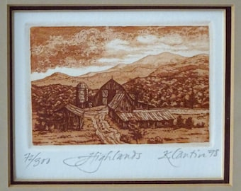 "Vintage Small Sepia Etching titled ""Highlands"" and signed by artist Kathleen Cantin"
