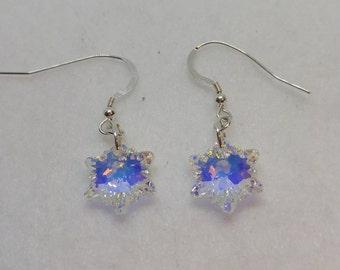 Sterling Silver Swarovski Edelweiss Crystal AB Earrings