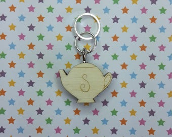 Teapot wooden stitch marker - knitting notions - charm