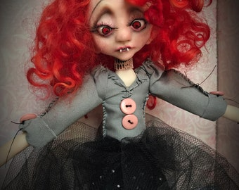 Ooak vampire doll, one of a kind doll, handmade sculpture, gothic art doll