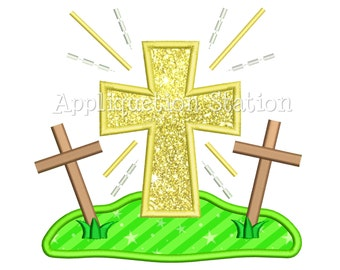 Cross on a Hill Applique Machine Embroidery Design He is Risen Easter Resurrection INSTANT DOWNLOAD Three Crosses