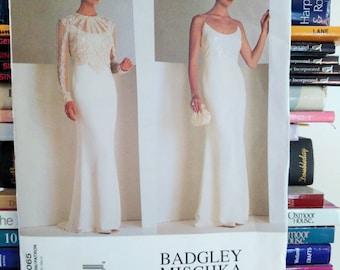 2001 Vogue-Badgley Mischka-American Designer # 2065-Top (Semi-Fitted, Long Sleeves) & DRESS-Raised Waist-Size 12-14-16-Bust 43-36-38-UNCUT