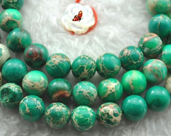 Green Emperor stone smooth round beads 6mm,62 pcs