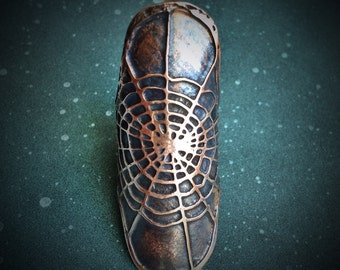 Shield Ring- Spider Web - handmade out of copper in my Austin Tx Studio - by Jamie Spinello
