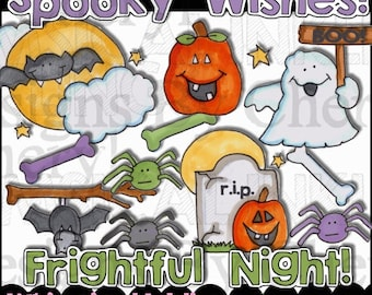 Spooky Wishes Clipart Collection - Immediate Download