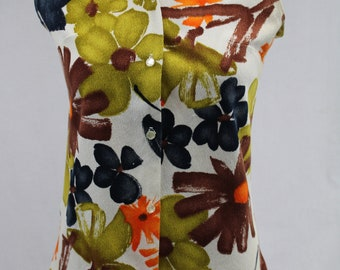 Vintage Judy Ann 1960s Button Up Sleeveless Gorgeous Vibrant Colors Womens Top