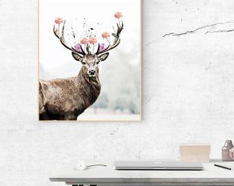 deer art, deer antler, deer print, deer printable, Deer Artwork, Instant Digital Print, animal decor, scadinavian deer print, gift deer art