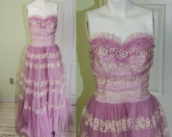 Vintage 1950's Frothy Strapless Lavander Party Prom Dress Gown