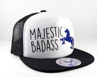 Black Roller Derby Hat || Roller Skating Unicorn || Majestic Badass || Snapback Cap || Flat Bill Hat || Roller Derby Clothing