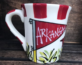 Licensed University of Arkansas Razorbacks Ceramic Coffee Mug with my Hand Poured, Soy Candle, Choose Your Scent