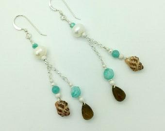 Hawaii Sea Shell, Smokey Quartz, Amazonite & Freshwater Pearl Sterling Silver Earrings #AVEN1803