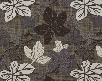Brown Silver And Ivory Large Leaves Textured Metallic Upholstery Fabric By The Yard | Pattern # A396