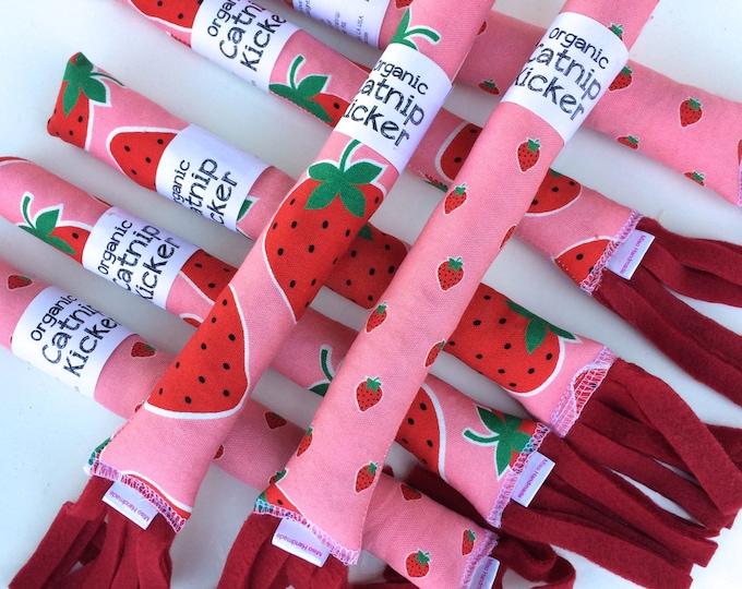 Featured listing image: Strawberry Cat Kicker| Cat Toys | Organic Catnip | Pink | Strawberry Cat Toy | Vegan Cat Toy | Kitten Toy | Catnip Kicker  | Miso Handmade