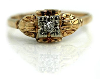 1940s Engagement Ring European Cut Rose Gold Ring